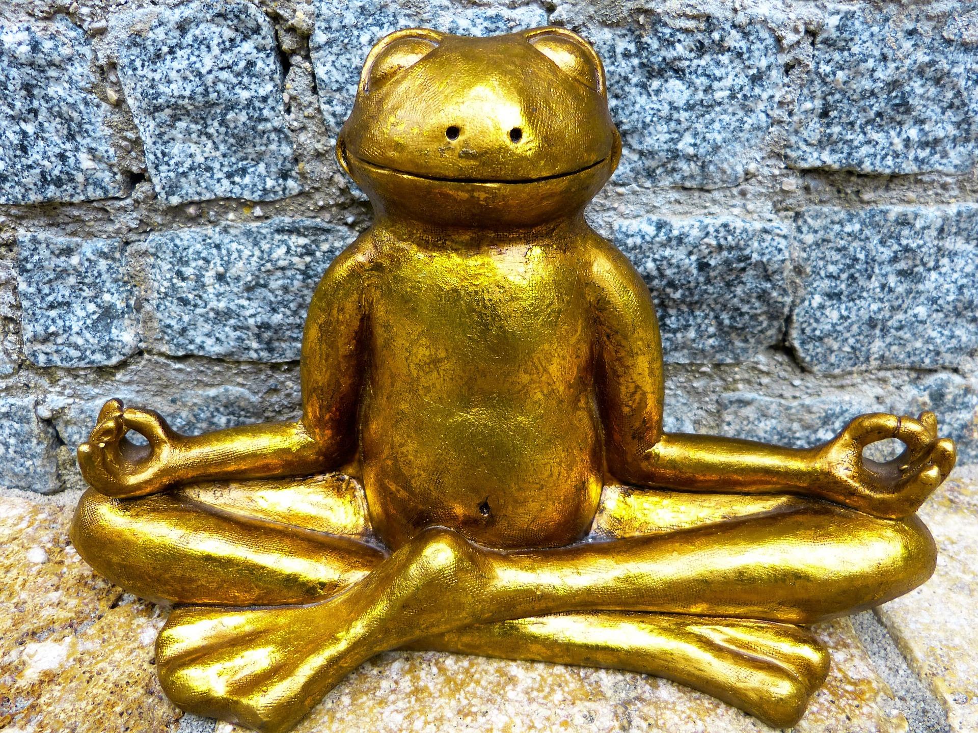 Goldener Frosch der Yoga macht